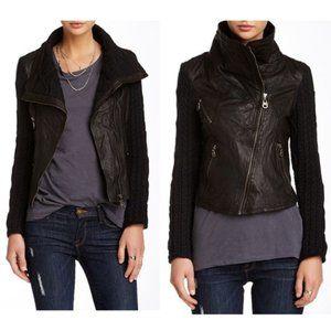 DOMA Knit Sleeve Irregular Leather Moto Jacket M